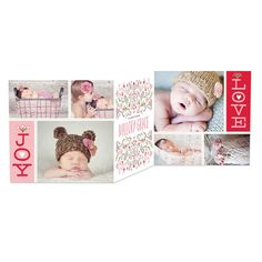 Newborn Joy - Winter Girl Birth Announcements - Hello Little One in Bloom Pink. #birthannouncements
