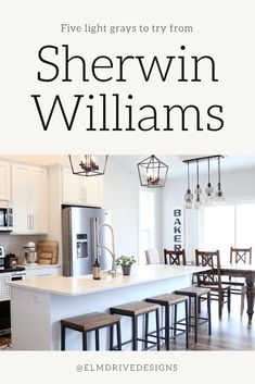 Five Shades of Light Gray by Sherwin-Williams: Cool and Warm Undertones - Elm Drive Designs Paint Colors For Home, Light Grey Paint Colors, Light Grey, Kitchen Paint, Sherwin Williams, Best White Paint, Colorful Interiors, Favorite Lighting, Light Grey Kitchens