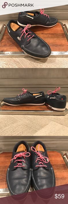 Lacoste boat shoes Only worn a couple of times and in excellent condition. Keep the  included pink laces for a touch of the unexpected, or make them more classic with white or a color of your choice. Ready for yachting! Lacoste Shoes Boat Shoes