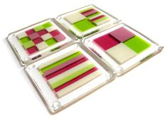 Fused glass coasters-love the variety of patterns in same colour palette!
