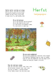 Liedjespagina: Herfst Learn Dutch, Aperol, Dutch Language, Fall Crafts For Kids, Music For Kids, Preschool Crafts, Teaching, Autumn, School