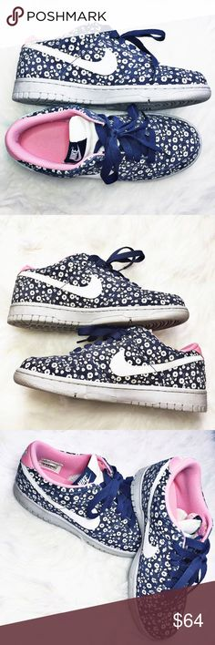 NIKE • Dunk Low Floral Liberty Fabric FIRM PRICE. Priced at the earnings I'd like to make -- this are RARE to find. These are super cute dunks w/ all over white floral print! It has a pink inner color that peeks through in the back brand logo. The soles are light gray. The main color is NAVY blue. Original laces. I do not have the box that these came in. I take good care of my sneakers; these are still in good condition. These are great shoes and I never saw anyone else rocking these! Nike…