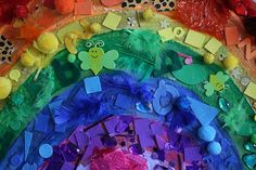 The Imagination Tree: Art and Craft - giant rainbow collage Rainbow Crafts, Rainbow Art, Rainbow Colors, Rainbow Stuff, Rainbow Room, Rainbow Theme, Vibrant Colors, Spring Crafts For Kids, Art For Kids