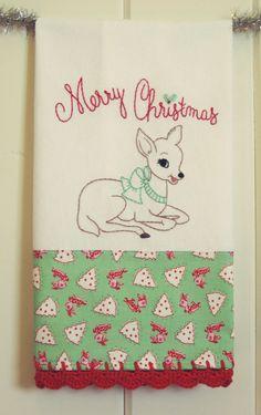 merry christmas deer flour sack tea towel by vintagegreyhandmade