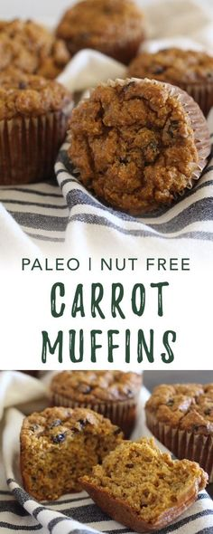 These Paleo Carrot Muffins are light and fluffy, thanks to a special trick to prepare the carrots. Raisin Muffins, Carrot Muffins, Healthy Muffins, Healthy Treats, Healthy Desserts, Healthy Food, Paleo Muffin Recipes, Low Carb Recipes, Whole Food Recipes