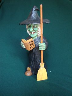 Woodcarving, Halloween Witch With broom.  Original one of a kind woodcarving by…