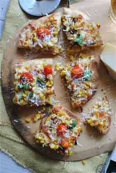 Corn + Tomato Saute Pizza from @BevCooks