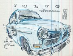 Cartoon Car Drawing, Car Drawings, Automobile, Volvo Amazon, Drawn Art, Volvo Cars, Futuristic Cars, Car Sketch, Automotive Art