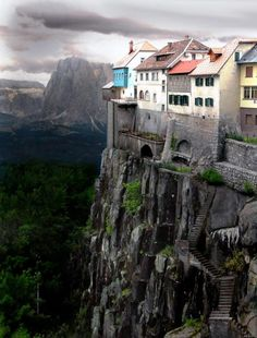 While the cliffside village of Ronda, Spain DOES exist this photo is NOT real, it is a Photoshopped image. Click the link for real photos of Ronda, Spain. Places Around The World, Oh The Places You'll Go, Places To Travel, Travel Destinations, Places To Visit, Around The Worlds, Wonderful Places, Beautiful Places, Simply Beautiful
