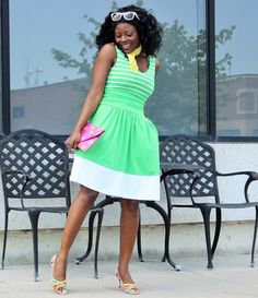 {Click image or shop at https://go2b.uy/%40TheFashionStirFry/18} : Striped Moxie Dress in Vibrant Green and White by Synergy Organic Clothing + Multicolored Strappy Sandals + Clutch