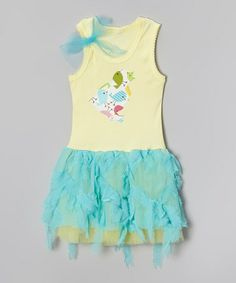 Loving this Teal & Yellow Chick Tank Dress - Toddler & Girls on #zulily! #zulilyfinds