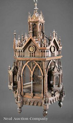 An American Gothic Patinated Metal Hanging Birdcage, c., hexagonal form modeled as a highly detailed cathedral lantern, fitted with screens, Victorian Furniture, Antique Furniture, Antique Toys, Antique Bird Cages, Vintage Birds, Vintage Clocks, Vintage Paper, French Vintage, Art Nouveau