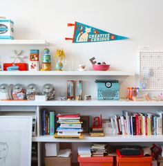 Love the styling on these kid's bookshelves.