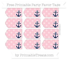 Free Pastel Pink Dotted Pattern Nautical Party Favor Tags                                                                                                                                                                                 More