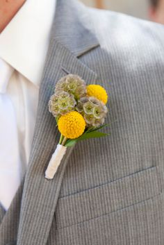 Scabiosa pods + craspedia button hole