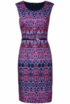 Purple Sleeveless Retro Print Belt Dress pictures
