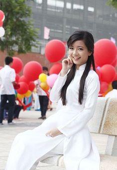Ao Dai, Beautiful Asian Girls, White Dress, Shirts, Dresses, Fashion, Vestidos, Moda, Fashion Styles