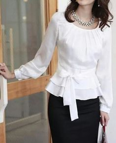 Fashion Women's OL Style Sweet Pleated Bodice Ruffled Ribbon Waist Blouse Shirt in Clothing, Shoes & Accessories, Women's Clothing, Tops & Blouses Cute Blouses, Shirt Blouses, Chiffon Blouses, Chiffon Shirt, Chiffon Dress, Modest Fashion, Fashion Dresses, Women's Dresses, Silvester Outfit