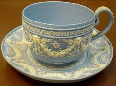 Classic Decadence! Wedgwood Blue JASPERWARE Cup and Saucer 19th century. Follow rickysturn/fine-china