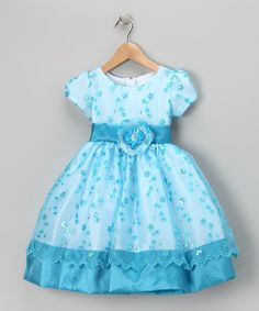 Turquoise Flower Sequin Organza Dress - Infant, Toddler & Girls