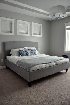 DIY Bed frame and headboard. Using wood, foam padding