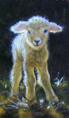"""Wobbly but Willing"" Lamb by Mary Iselin Fine Art♥♥ Sheep Paintings, Animal Paintings, Animal Drawings, Easter Drawings, Pastel Paintings, Lapin Art, Sheep Art, Prophetic Art, Sheep And Lamb"