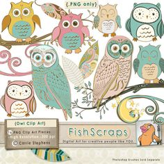 Owl Whimsical Clip Art Set for scrapbooking & card making - Digital png Graphics - Wispy. $6.95, via Etsy.