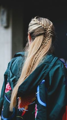 Half braids into one big braid // really cute but would have to get someone to do in for you!
