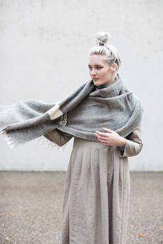Indigo Reid Blanket Shawl in Winter Slate