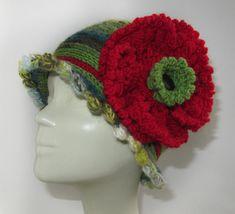 Women fashion hat hand knitted multicoloured by SEVILSBAZAAR
