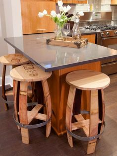 Old wine barrels are turned into rustic barstools. Even though they're store-bought, each one is unique.