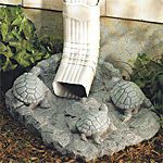 Attractive way to divert rain gutter downspout water away from your house foundation. #turtles