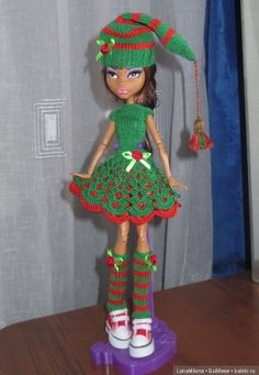 Помощница Санты, платье для кукол Monster High / Одежда для кукол / Шопик. Продать купить куклу / Бэйбики. Куклы фото. Одежда для кукол