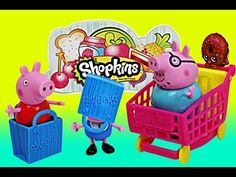 Peppa Pig Shopkins Surprise Basket with Disney Frozen Elsa and Anna and Daddy Pig Open Shopkins