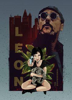 Léon / Luc Besson fanart by Nikita Abakumov Deco Pastel, Mickey Mouse Parties, Movie Poster Art, Print Artist, Cool Artwork, Natalie Portman, Professional Quotes, Professional Poster, Professional Tattoo