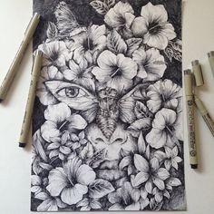 """Habitat flower"" illustration ink  ©Alfred Basha"