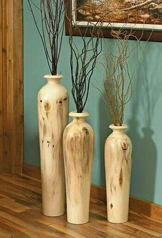 25 stunning floor vase designs - real eye-catchers in your home! - Making Furniture yourself DIY Lathe Projects, Wood Projects, Woodworking Projects, Wood Turning Lathe, Wood Turning Projects, Wood Vase, Wood Bowls, Wood Creations, Wooden Art