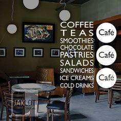COFFEE TEA SANDWICHES CAFE - LARGE Vinyl Window, Wall Sticker - Retail , Shop