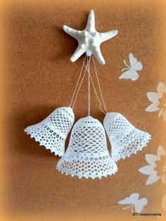 "Beautiful Crochet bells, set of 3 (2 x 3"" and 1 x 3.5""), #Wedding bells, #Christmas #bells"
