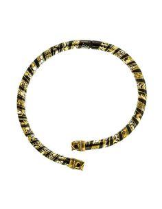Laurana Vintage Black Gold Silver Enamel Owl Choker Necklace - from Amarcord Vintage Fashion