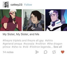 My sister doesn't get why shiro has to be gay. Honestly it doesn't fucking matter. He's a good boy and deserves the best. And in this case Curtis. Form Voltron, Voltron Ships, Voltron Klance, Voltron Memes, Fandom Crossover, She Ra Princess Of Power, Animation Series, Anime, Dreamworks