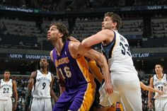 Pau Gasol (Los Angeles Lakers) battling brother Marc Gasol (Memphis Grizzlies)