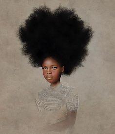 One of Tawny Chatmon's children, resplendent in black girlhood. - https://www.tawnychatmon.com/ - http://afropunk.com/2017/10/kilmit-inspired-artist-honors-black-girlhood-gold-embellished-portraits/