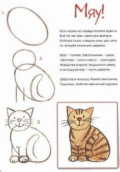 Cómo dibujar un gato sonriente, paso a paso . - Cómo dibujar un gato sonriente, paso a paso … – Cómo dibuj - Art Drawings For Kids, Doodle Drawings, Drawing For Kids, Animal Drawings, Doodle Art, Easy Drawings, Art For Kids, Drawing Ideas, Cat Steps