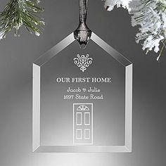 Personalize your Christmas tree with this decorative Our First Home Engraved Ornament. Find the best personalized Christmas ornaments at PersonalizationMall.com
