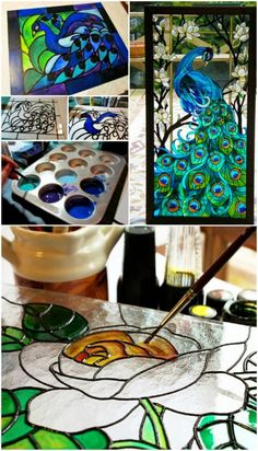 How To Make Faux Stained Glass Using 2 Ingredients – Glass Art Designs Stained Glass Paint, Making Stained Glass, Stained Glass Designs, Stained Glass Projects, Stained Glass Patterns, Stained Glass Windows, How To Do Stained Glass Diy, Window Glass, Broken Glass Art