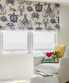 Make Nautical and Coastal Roman Shades - Coastal Decor Ideas Interior Design DIY Shopping Beach Cottage Decor, Coastal Decor, Coastal Living, Houzz, Window Coverings, Window Treatments, Nautical Curtains, Beachy Curtains, Nautical Bedroom