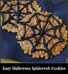 We had a Halloween party yesterday and my Mom made these easy decorated Halloween spiderweb cookies.  They are actually so easy you don't even need a recipe because you use pre-made pizzelle cookies.  (She got hers from Aldi).  Then grab a tube of black icing (or make your own) to create a spiderweb design on …