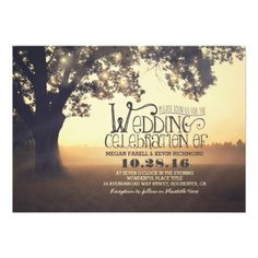 string lights tree rustic wedding invitation.  Invitations are discount sale priced 40% OFF when you order 100+ Invites. #wedding  http://www.zazzle.com/string_lights_tree_rustic_wedding_invitation-161465152381860135?rf=238133515809110851&tc=PinterestMsPlnr