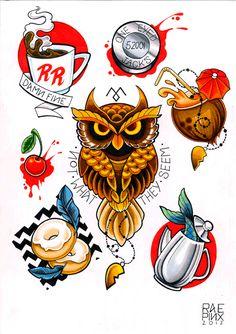 Twin Peaks tattoo flash from Rea Pinx Custom Tattoos
